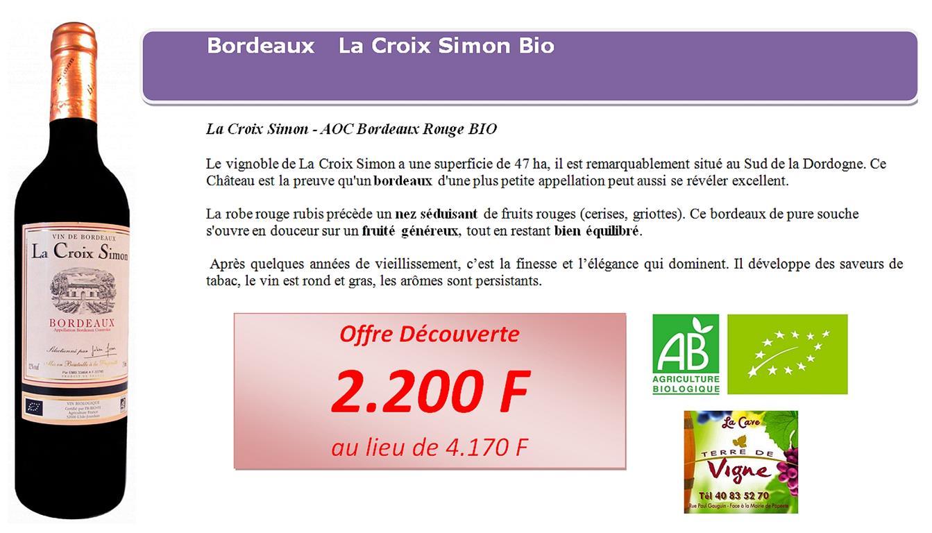 Bordeaux Bio La Croix Simon 2012