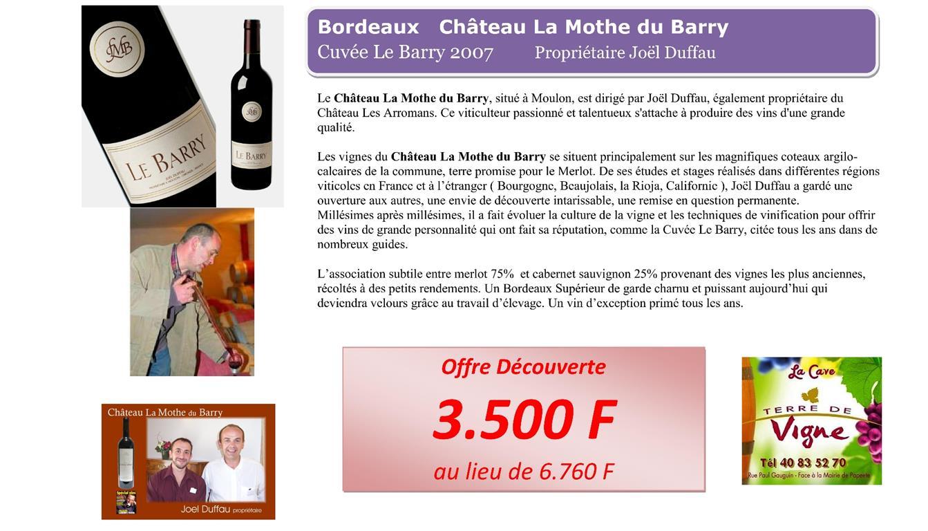 Bordeaux Cuvée le Barry du Château La Mothe du Barry