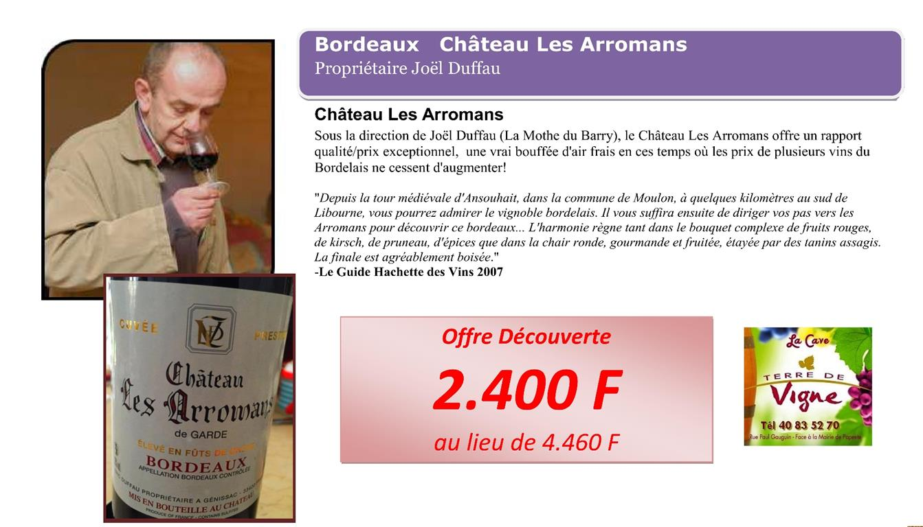 Découvrez le Bordeaux Château Les Arromans
